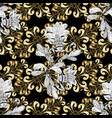 damask golden floral pattern on a black white vector image