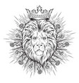 hand drawn crowned lion head in sun rays isolated vector image