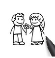 man and woman in doodles style vector image