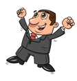 Successful happy businessman jumping 2 vector image
