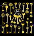 vintage antique golden key collection vector image