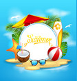 summer background with sea island beach vector image
