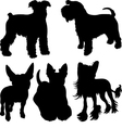 set of silhouettes of dogs 4 vector image
