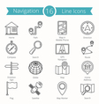 16 Navigation Line Icons vector image