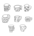 Set with cups and mugs Hand drawn zentangle vector image