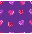 Crystal hearts purple pattern vector image