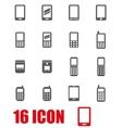 grey mobile phone icon set vector image