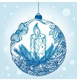 Decorative Christmas ball with a candle and a vector image