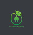 eco electric plug icon logo vector image