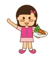 happy child with healthy eating related icons vector image