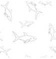 sharks outline sketch seamless pattern vector image
