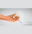 Smoking kills hand holding cigarette vector image