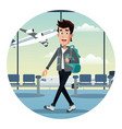 young man with backpack airport vector image