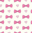 Seamless pattern with bows and hearts vector image vector image
