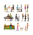 set of people with modern gadgets flat vector image