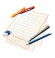 Paper Crayons Pencils vector image vector image