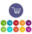 online shopping icons set flat vector image