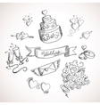 Sketch of wedding design elements vector image vector image