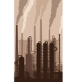 Oil refinery silhouette with smoking chimneys vector image