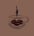 cup of hot coffee with ferry and grains vector image