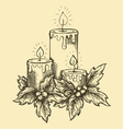 drawing candles and holly berries and leaves vector image