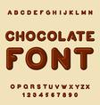 Chocolate font Dessert ABC Sweet alphabet Brown vector image
