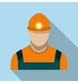 Coal miner flat icon vector image