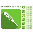 Fahrenheit Thermometer Icon and Medical Longshadow vector image