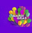 happy mardi gras in paper cut style origami vector image