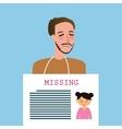 man holding sign of missing children kids vector image