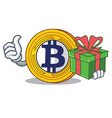 With gift bitcoin gold character cartoon vector image