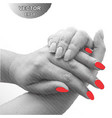 striped hand with red nails vector image