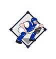 Baseball Catcher Catching Side Cartoon vector image