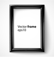 Black wooden rectangular 3d photo frame with vector image