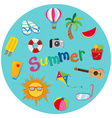 Summer theme with many objects vector image vector image