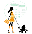 Pregnant woman walking with poodle vector image vector image