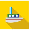 A child s toy boat on a yellow background vector image