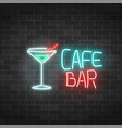 neon cafe and bar sign on a brick wall background vector image