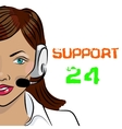 Round-the-clock telephone support Woman vector image