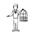 vet man with bird cage empty veterinary concept vector image