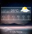 Weather Widget with landscape background vector image