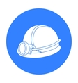 Miner s helmet icon in black style isolated on vector image