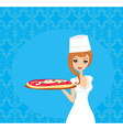 beautiful woman serving pizza vector image