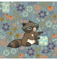 Funny little raccoon collects crickets vector image vector image