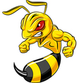 Cartoon angry bee mascot isolated vector image