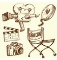 Cinema and photography vintage set vector image