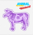 farm animal cow in sketch style on colorful vector image