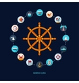 Set of vintage flat design modern nautical marine vector image