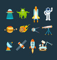 space theme transport planets objects cosmos vector image