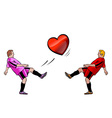 two boys is playing with the heart vector image
